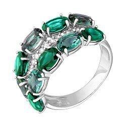Серебряное кольцо с зеленым агатом, зеленым кварцем и фианитами 000063391