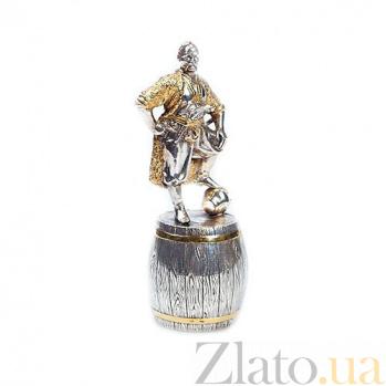 Серебряная штрафная рюмка Казак на бочке 355