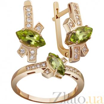 Золотое кольцо с хризолитом Милена AUR--31702 07