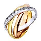 Золотое обручальное кольцо с фианитами Тринити