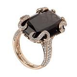 Золотое кольцо с раухтопазом и бриллиантами Клеопатра