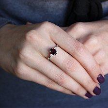 Серебряное кольцо с гранатом и фианитами Забвение