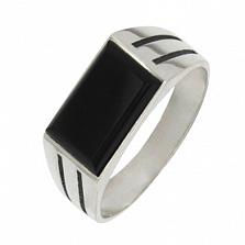 Серебряное кольцо с ониксом Фаворит