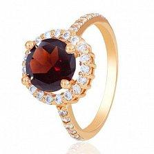 Золотое кольцо София с гранатом и фианитами