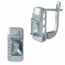 Серебряные серьги Тавус с топазами мистик и дорожками фианитов
