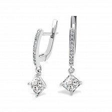 Серебряные серьги-подвески Нелли с фианитами