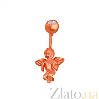 Серьга для пирсинга из красного золота Купидон с цирконием VLT--39119