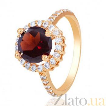 Золотое кольцо София с гранатом и фианитами EDM--КД4039ГРАНАТ
