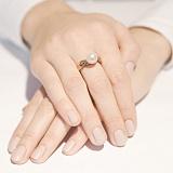Кольцо из красного золота с жемчугом Архелия
