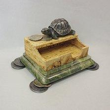 Визитница Черепаха из серебра, золота, унакита и карельской березы с позолотой и бриллиантами