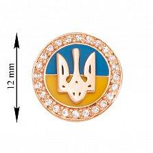 Значок из красного золота с эмалью и фианитами 000129541