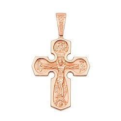 Крестик из красного золота Сила молитвы 000103804