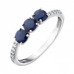 Серебряное кольцо с наносапфирами и фианитами 000063341
