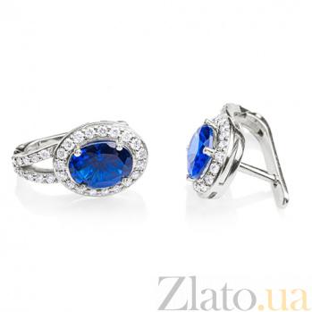 Серьги с сапфирами и бриллиантами Новолуние E0599