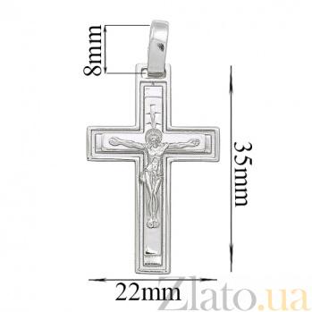 Серебряный крест родированый Сын Божий HUF--3324-Р