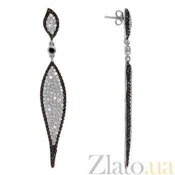 Серебряные серьги с фианитами Королевский шарм 10030189