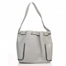 Кожаная сумка на каждый день Genuine Leather 8926 серого цвета на кулиске, с нашивными карманчиками