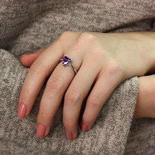 Серебряное кольцо Ласковое сердце с аметистовым фианитом