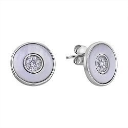 Серебряные серьги-пуссеты с перламутром и фианитами 000132625
