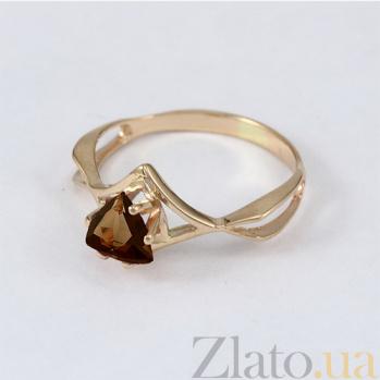 Золотое кольцо с раухтопазом Филадельфия VLN--112-1139-2