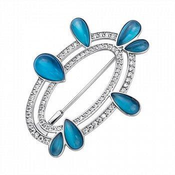 Срібна брошка з блакитними улекситами і білими фіанітами 000117133