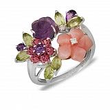 Золотое кольцо с опалом, аметистом, перидотом и бриллиантами Запах весны