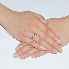 Обручальное кольцо Фасет в белом золоте с граненой шинкой и фианитами в стиле Бушерон