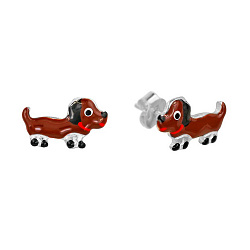 Серебряные серьги-пуссеты Собачки с цветной эмалью 000081916