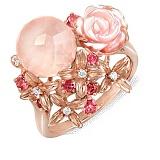 Золотое кольцо с кварцем, перламутром, топазами и брилилантами Розалинда