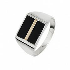 Серебряный перстень Джонас с ониксом и золотой вставкой