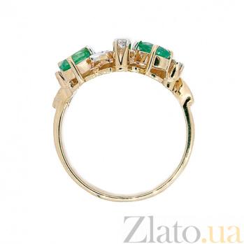 Золотое кольцо в красном цвете с изумрудами и бриллиантами Reina ZMX--RE-6226_K