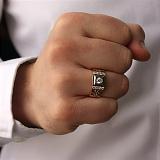 Золотое кольцо-печатка Имидж с фианитами