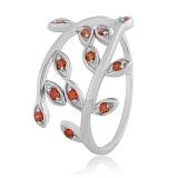 Серебряное кольцо с красными фианитами Ипомея