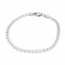 Серебряный браслет родированный Лав, 4мм