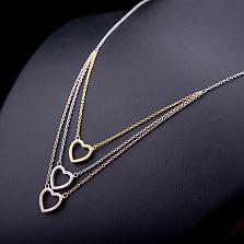 Колье из серебра Три сердца с позолотой и фианитами