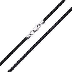 Черный плетеный шнурок из синтетической кожи Колибри с серебряной застежкой, 2,5мм