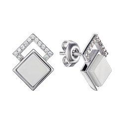 Серебряные серьги-пуссеты с керамикой и фианитами 000148019