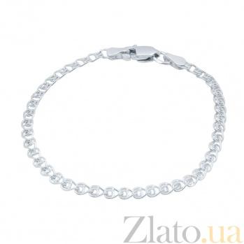 Серебряный браслет родированный Лав, 4мм 000017334