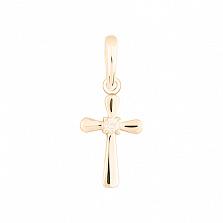 Крестик в желтом золоте Защита с бриллиантом