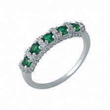 Серебряное кольцо Иллирика с синтезированными изумрудами и фианитами