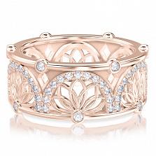 Обручальное кольцо в розовом золоте Восторг: Аромат Солнца с топазами