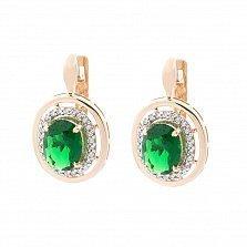 Золотые серьги Натали с зеленым кварцем и фианитами