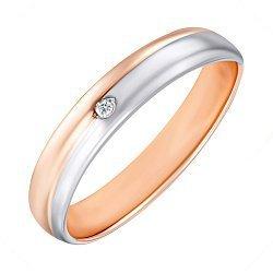 Золотое обручальное кольцо в комбинированном цвете с цирконием 000138809