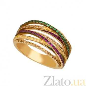 Кольцо с фианитами из желтого золота Николетта VLT--ТТТ1244