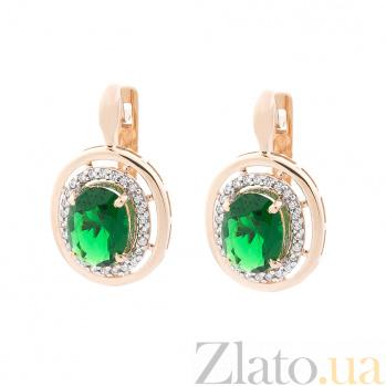 Золотые серьги Натали с зеленым кварцем и фианитами 000073112