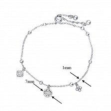 Серебряный браслет Анабель с подвесками, бусинками и фианитами