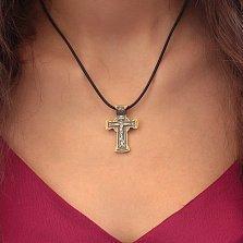 Серебряный крест Ветхозаветная троица в позолоте с чернением