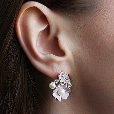 Серебряные серьги Магнолия с жемчугом, фианитами и розовой эмалью