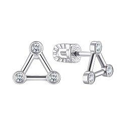 Cеребряные серьги-пусеты с фианитами 000149150