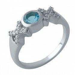 Серебряное кольцо с синтезированным аквамарином, фианитами и родированием 000128765